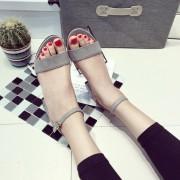 Sandalias Thick Heel Strap Sandles-Gris