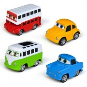 Tianmei 4 Cars in 1 Set Super Car Styling Alloy Diecast Vehicle Models Collection Kids Toy, Pull Back Mini Cartoon Racer Bus Truck Car Toy for Kids Boys Girls (4pieces - Bus)