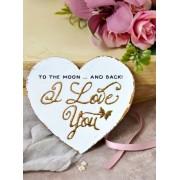 Inimioara magnet decorata cu auriu - I love You To the Moon and back