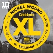 D'Addario EXL125-10P 09-46 Set de 10 Nickel Wound