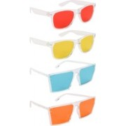 NuVew Wayfarer, Retro Square Sunglasses(Red, Yellow, Green, Orange)