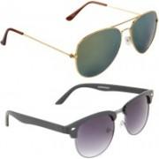Zyaden Aviator, Oval Sunglasses(Green, Violet)