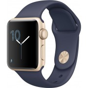 Apple Watch Series 2, 38mm Gold Aluminium Case with Midnight Blue Sport Band, mq132cn/a
