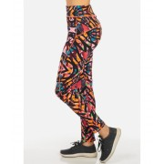 CheapChic One Size Orange and Pink High Rise Printed Active Skinny Leggings Multicolor