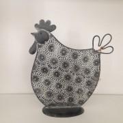 Decorazione di Pasqua ornamentale a forma di pollo, dimensioni medie, colore grigio scuro