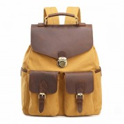Men High Quality Backpack Cowhide Canvas Vintage Outdoor Travel Large Capacity