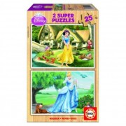 Educa Disney Hófehérke és Hamupipőke fa puzzle, 2x25 darabos