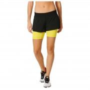 adidas Women's Gym Two-in-One Training Shorts - Black/Yellow - XS - Black/Yellow