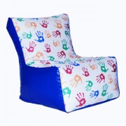 ComfyBean - Printed - Designer - Bean Chair - Size Kids - Filled With Beans Filler Hand Blue
