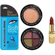 Blue Heaven Lipstick Kajal Liner Eye Magic Eye Shadow Diamond Blush On (Set of 4)