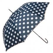 Clayre & Eef JZUM0004BL Esernyő 98x55cm,sötétkék-fehér pöttyös