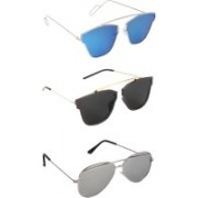Pogo Fashion Club Wayfarer, Cat-eye, Retro Square Sunglasses(Black, Silver, Blue, Multicolor)
