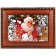 Cottage Garden Santa Claus Christmas Decoration Woodgrain Decorative Music Musical Jewelry Box Plays