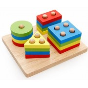 SUNONE11 Wooden Shape Color Sorter Geometric Sorting Board Block Stack Sort Chunky Puzzle Toys Toddler Preschool...