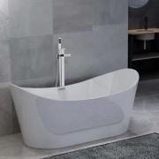 vidaXL Baignoire autoportante et robinet 204 L 110 cm Argenté