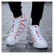 Zapatillas De Deporte Para Hombre Suelas Gruesas Casual Respirable Zapatos -Rojo