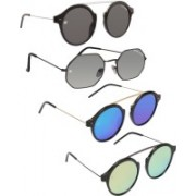 Marc Jones Round Sunglasses(Black, Grey, Silver, Green)