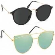 SRPM Cat-eye, Wayfarer Sunglasses(Black, Green)