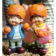 Wonderland 3.5 inches Set of 2 Bonsai Decoration Mini Fruit Boys with Orange (terrarium home garden decor gifting)