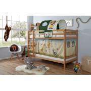 Ticaa Etagenbett »Rene«, mit Rollrost und Textil-Set wahlweise mit Matratze, Buche, Safari
