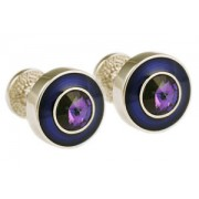 Mousie Bean Crystal Cufflinks Round Polo 004 Blue/Helio