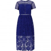 River Island Womens Bright Blue floral lace waisted midi dress