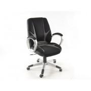 FK-Automotive Chaise de bureau filet noir/gris avec accoudoirs