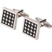69th Avenue Men's Black Square Shaped Silver Plated Cufflinks