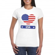 Bellatio Decorations Amerika/ USA hart vlag t-shirt wit dames