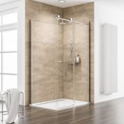 Schulte Home Porte de douche coulissante + paroi latérale 100 x 80 cm