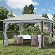 Intent24.fr Tonnelle de jardin 3x4m Polyester pelliculé polyuréthane 280 g/m² gris imperméable