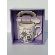 Cana ceai sau cafea in ambalaj mov cu decor levantica