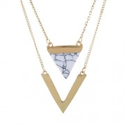 V Shape Stone Triangle Double Layer Pendant Necklaces Jewelry Statement Necklace Party Jewelry (White)