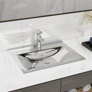 vidaXL Chiuvetă cu preaplin, argintiu, 60x46x16 cm, ceramică