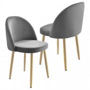 Комплект от 2 броя дизайнерски столове за трапезария [en.casa]® , Сив