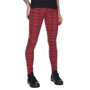 Ženske hlače URBAN CLASSICS - Skinny Tartan - crvena / blk - TB2848