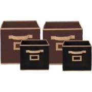 Billion Designer Non Woven 4 Pieces Small & Large Foldable Storage Organiser Cubes/Boxes (Coffee & Black) - CTKTC35350 CTKTC035350(Coffee & Black)