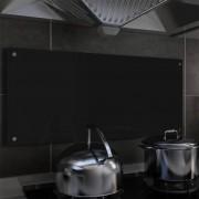 vidaXL Painel anti-salpicos de cozinha preto 90x40 cm vidro temperado