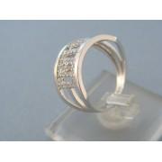 Zlatý dámsky prsteň široký biele zlato vzorovaný kamienky DP55430B