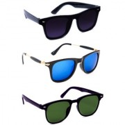 TheWhoop Super Combo UV Protected New Black Blue And Green Wayfarer Sunglasses For Men Women Boys And Girls