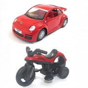 Combo Toys of Kinsmart 1:32 Scale Model Volkswagen New Beetle (Metal) and Vintage Bullet Model Miniature Bike Toy (Plastic) | Red and Red