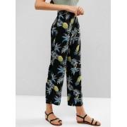 Zaful Pantalon large à imprimé ananas Noir S