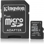 Kingston Micro SDHC / TF Tarjeta De Memoria W / Adaptador SD - Negro (8GB / Clase 10)