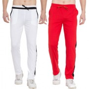 Cliths Men's Cotton Trackpants stylish set of 2 Sports lowers for Men (Red Black And Black White)