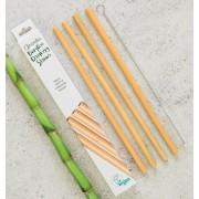 Set 4 bucati pai din bambus pentru baut