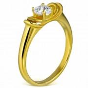 Arany színű, cirkónia köves nemesacél gyűrű-9,5