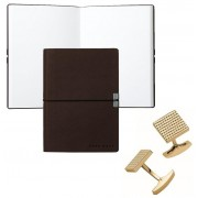 Set Butoni S.T. Dupont Diamond Head Square Yellow Gold si Note pad Burgundy Hugo Boss