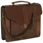 vidaXL Briefcase Real Leather Brown
