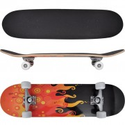 vidaXL Oval Shape Skateboard 9 Ply Maple Fire Design 8""