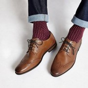 River Island Mens Tan leather lace-up brogue shoes (Size 8)